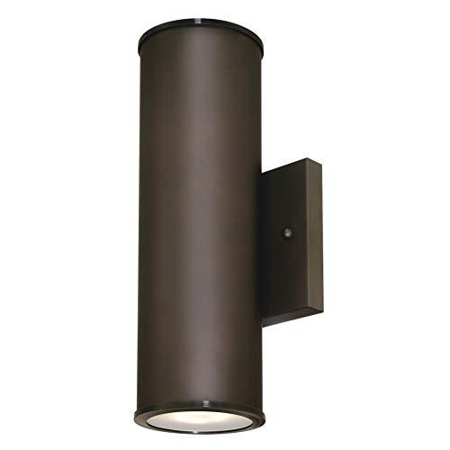 63157 Apparecchiatura da parete da esterno, luce LED emessa in alto e in basso, finitura di bronzo lucidato a olio con pannelli di vetro smerigliato