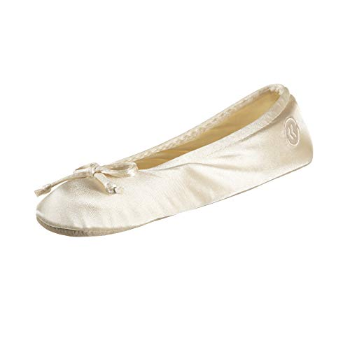 isotoner womens Satin Ballerina With Bow, Suede Sole Slipper, Cream Soft Tie Bow, 8 9 US