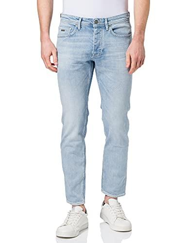BOSS Herren Taber BC-C Tapered-Fit Jeans aus gebleichtem Stretch-Denim