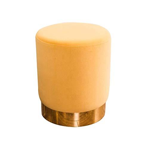 YZjk Velvet Footstool mit Gold Metal Rim Moderne Runde Ottomane Schminktisch Hocker Gepolsterter Stuhl Sitzpuff für Wohnzimmer Schlafzimmer (Farbe: Grau)