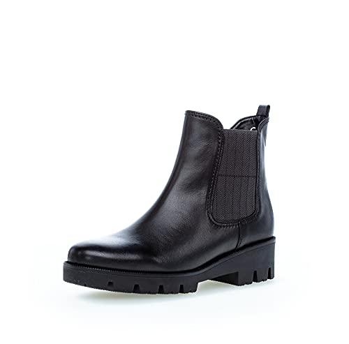 Gabor Damen Chelsea Boots, Frauen Stiefeletten,Wechselfußbett,Komfortable Mehrweite (H),Schlupfstiefel,Women's,schwarz (Micro),39 EU / 6 UK