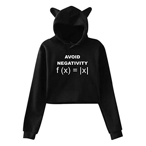 HJYR Évitez la négativité Drôle Math Femmes Chat Oreille À Capuche Élégant À Manches Longues Révélé Nombril Sweat-Shirts À Capuche, S-XXL