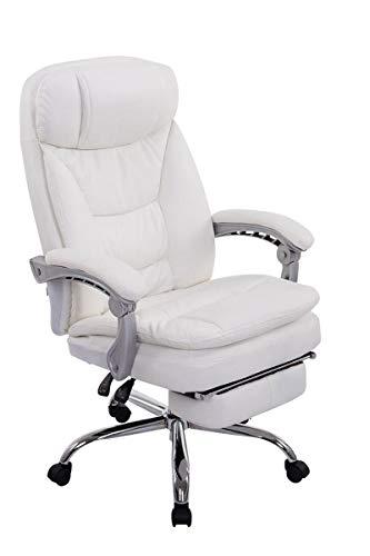 CLP XL Bürostuhl Troy | Relaxsessel Mit Kunstlederbezug Und Armlehnen | Höhenverstellbarer Chefsessel Mit Ausziehbarer Fußablage, Farbe:weiß
