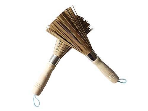 Kitchen Scrub Brush, Pack of 2 Natural Bamboo Cleaning Brush for Pan, Pot, Plate and General Cleaning