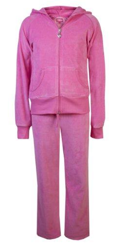 Childrens terciopelo Chándal niños calidad terciopelo Joggers Sudadera con capucha # trackisback rosa hot pink 5-6 Años