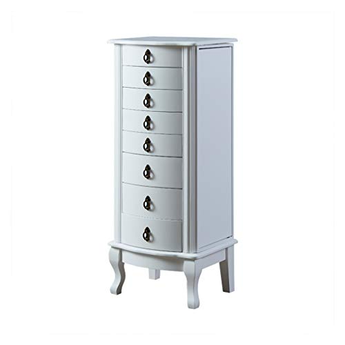 EVEN Armadietto Bianco con Specchio, cassapanca in Legno, armadi da Camera da Letto con 8 cassetti