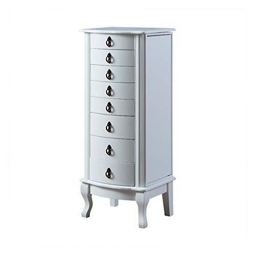 EVEN Weißer Stehschrank mit Spiegel, Kommode aus Holz, Schlafzimmer Schmuckschränke mit 8 Schubladen
