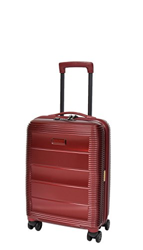 Cabin Size 4 Wheel Hand Luggage Solid Hard Shell Suitcase TSA Lock Travel Bag A410 Red