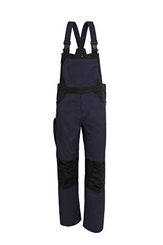 Qualitex X-Serie Unisex Latzhose in Marine/schwarz Größe 48, Lange Arbeitshose für Herren und Damen, Cargohose mit vielen Taschen