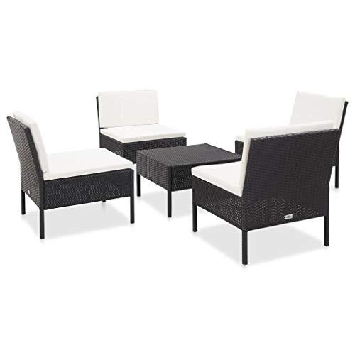 pedkit Muebles de Jardin Exterior Conjuntos Set de sofás de jardín 5 Piezas y Cojines ratán sintético Negro