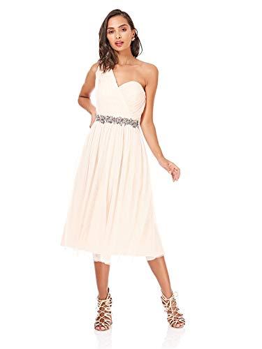 Little Mistress Womens/Ladies One Shoulder Mesh Prom Dress (6 US) (Nude)