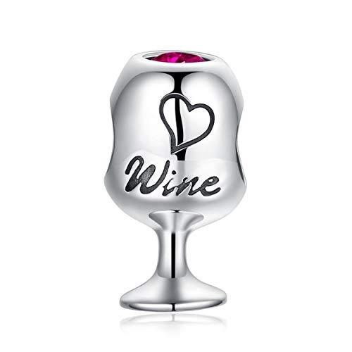 Bolenvi - Abalorio de plata de ley 925 con diseño de copa de vino tinto de rubí para pulseras y collares