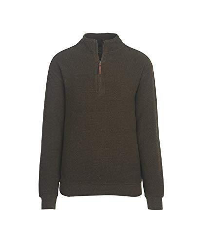 Woolrich Men's Bromley Half Zip Sweater, Mocha Heather, Medium