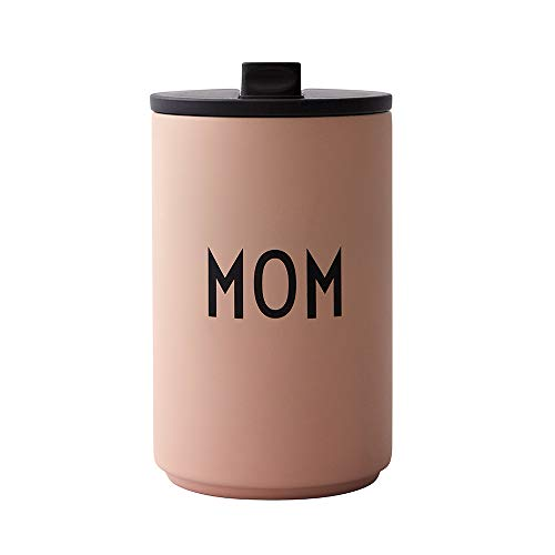 Design Letters Thermobecher- Isolierbecher Nude MOM | BPA-Frei | 350 ml | Kaffeebecher to Go | Edelstahl Travel Mug | Deckel mit einfachen Öffnnen/Schließ System | Skandinavisches Design