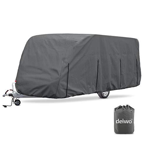 deiwo Wohnwagen Schutzhülle | Größe S - XL | 4 Schicht | 160 g/qm | Winter Schutz (L 518-579 cm)