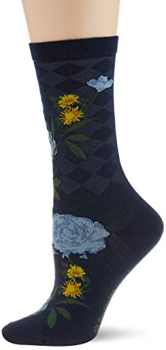 Burlington Damen Country Flower Socken, blau (marine 6120), Einheitsgröße (DE 36-41)