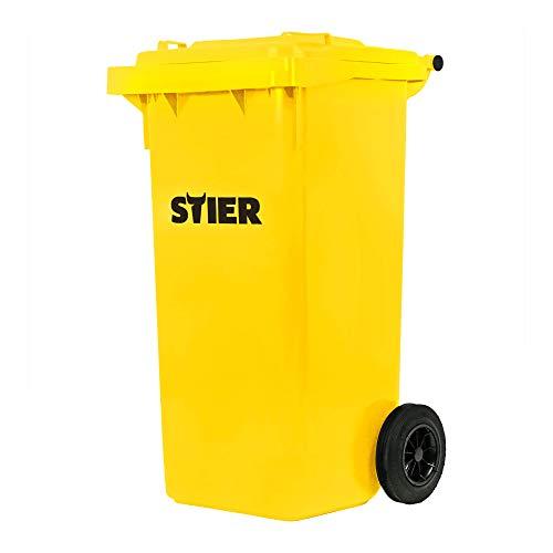 STIER 2-Rad-Müllgroßbehälter, Volumen 120 l, Mülleimer, gelb, BxTxH 475x550x930 mm, Mülltonne, Hergestellt in Deutschland, Restmülltonne mit Rädern und Deckel