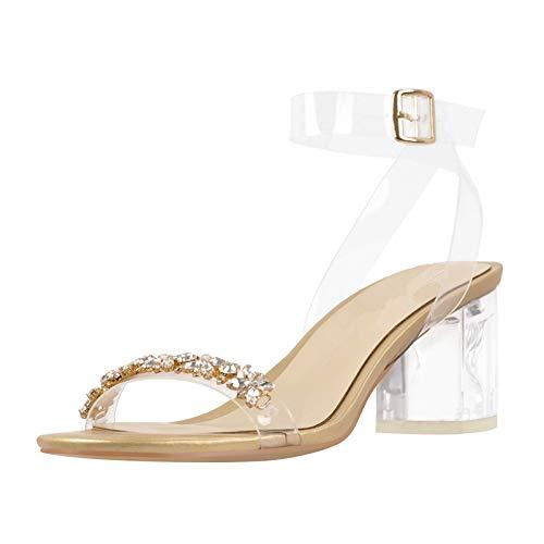 Yolkomo Women's Rhinestone Sandasl Clear Mid Chunky Heels Buckle Strappy Open Toe Fashion Shoes Gold Size 10