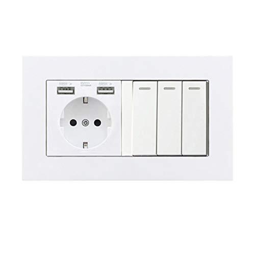 DE EU RU Enchufe Enchufe 1 2 3 4 Gang 1 Botón de 2 vías Interruptor de luz Puerto USB dual Panel de plástico Enchufe doble 146Mm 2 Way 3 Gang