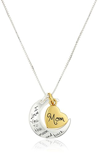 "Two-Tone Sterling Silver ""Mom I Love You To The Moon and Back"" Heart Pendant Necklace, 18″"
