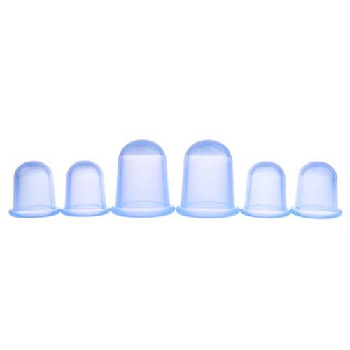 Backbayia 6pcs Tasses Acupuncture Coupes Anti Cellulite Vide Silicone Ventouses de Massage (Bleu)