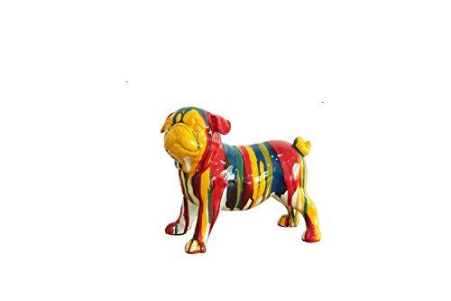 Meubletmoi Statue Chien Carlin à Poser - Multicolore - Design Moderne