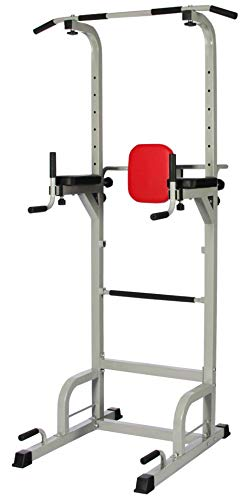 BalanceFrom Power Tower with Push-up, Pull-up and Workout Dip Station for Home Gym Strength Training, Gray