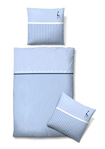 biberna 0635981 Bettwäsche Garnitur mit Kopfkissenbezug Mako-Baumwoll-Satin 1x 135x200 cm + 1x 80x80 cm eisblau