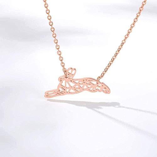 BEISUOSIBYW Co.,Ltd Collares Mujeres Hombres Contrato Collar Animal Origami Collar Hermosa Rosa Mascota Conejito Conejo Collares Colgante joyería Punk para Mujeres Regalos Regalo