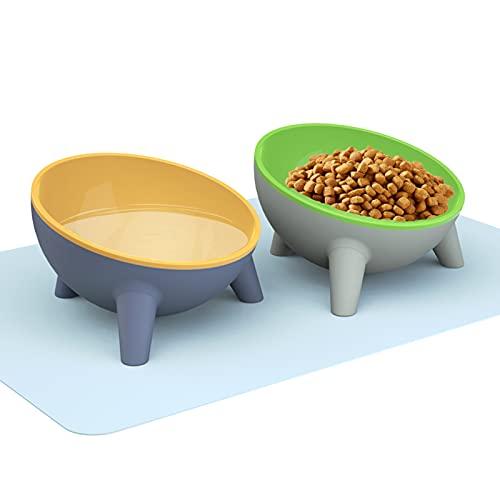 Dorakitten Futternapf Katze Set Katzennäpfe für Katzen Katzenschalen 2 Stück -15 ° geneigte Doppelkatzenschale mit Mattenzubehör Anti-Erbrechen rutschfe Wasserschalen für Katzen und Hunde