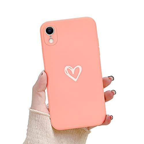 Newseego Funda Compatible con iPhone XR, Carcasa Protectora Antigolpes con Parachoques de Líquido Silicona Suave para iPhone XR Delgada Funda Corazón Heart Case de Telefono para iPhone XR-Rosa