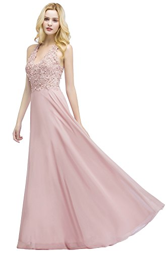 Damen Elegant Chiffon Abendkleid Abiballkleid Spitze Ballkleid Perstickerei lang Rosa 40