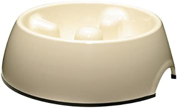 Dogit Go Slow Anti-Gulping Dog Dish, Slow Feeding Dog Bowl Suitable for Wet Or Dry Food, X-Small, White