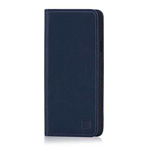 32nd Klassische Series - Lederhülle Hülle Cover für OnePlus 7 Pro, Echtleder Hülle Entwurf gemacht Mit Kartensteckplatz, Magnetisch & Standfuß - Marineblau