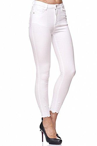 Elara Damen Jeans Stretch High Waist Skinny Slim Chunkyrayan 4D434 White 42 (XL)
