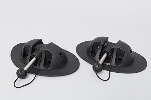 AQUA 2 x mittlere Ruderdolle für Schlauchboote (schwarz), Ruderhalter für Paddel