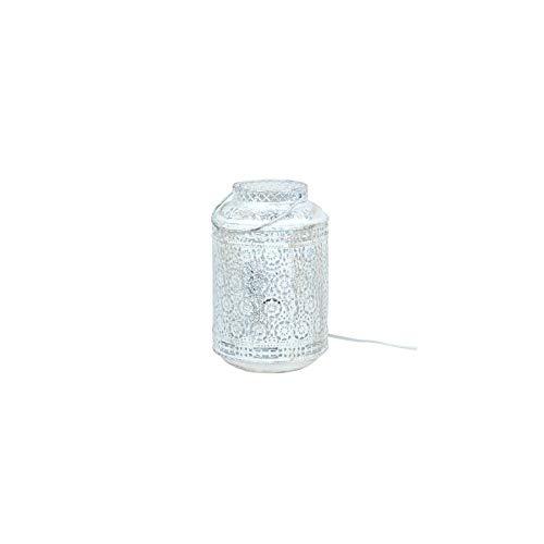Art Deco Home - Tischlampe LATERNE, weiss, 25 cm - 15953SG