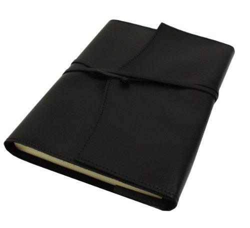 Papuro Milano Nachfülleinlage für Italienisches Leder schwarz blanko Tagebuch–15x 21cm