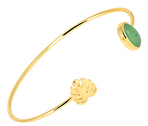 ISADY – Inca Gold – Bracciale da donna – 18 carati (750) placcato oro giallo – quarzo avventurina verde