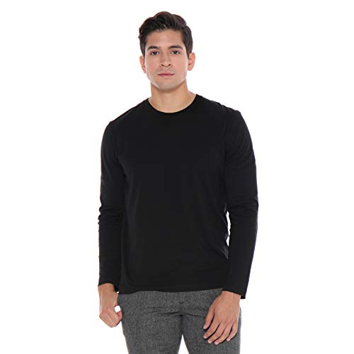 Men's Designer T-Shirt Lightweight Semi Fit Long Sleeve Crew Neck Organic Cotton Pre-Shrunk Embroidered - Made in USA (XL, Black)