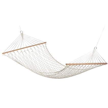 R Runilex Rope Hammock with Wooden Spreader Bars / Adults Swing for Single Person (Cotton, 78 x 30 Inches L x W, White)