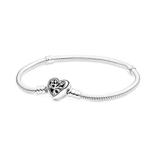 Pandora Stammbaum Schlangen-Gliederarmband mit Herzverschluss aus Sterling-Silber, 23cm, 598827C01-23