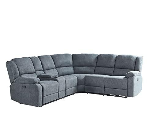 Canapé d'angle Gris Tissu Confort