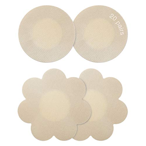 Gmumu 20 Paar, Ultra Dünne Nippel Abdeckungen wasserdichte Unsichtbare Einweg Nippel Cover Brust Aufkleber Nippelpads