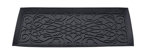 Superio Rubber Boot & Shoe Tray, 34 x 14 x 2 Rectangle, Heavy Duty, Protects Floors from Water and Dirt, Waterproof for All Weather Indoor Outdoor Use,