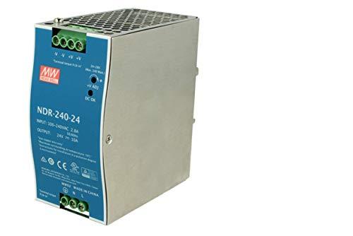 MeanWell NDR-240-24 - Transformador de carril industrial 24 V 240 W 10 A barra guía DIN Rail Power Supply universal