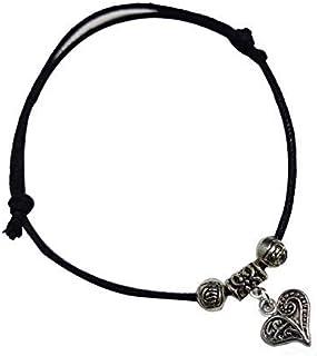 Sataanreaper Presents Jewelers Regolabile Nero Discussione Hanging Cavigliera con Ossidato Cuore for Girls #Sr-2067