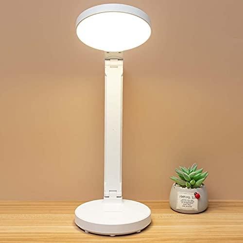 SJNSJN Lámpara Escritorio LED, 10W Lámp de Noche Atenuación Continua de 3 Temperaturas Color, Interruptor Tactil Puerto Carga USB Lampara Mesa, Luz de Iluminación Protección Oficina Ocular Plegable