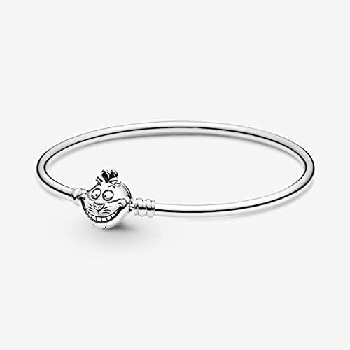 FIISH Pulsera de Plata de Ley 925 con corazón de Serpiente, Pulsera de Cadena para Mujer, Cuentas aptas para Regalo de joyería