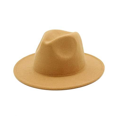Sombrero Fedora de ala Ancha para Mujer, Vestido Formal sólido de otoño, Sombreros de Boda para Mujer, Sombreros de Invierno de Jazz clásico de Fieltro Blanco y Negro-Camel-52-54cm(Kids)
